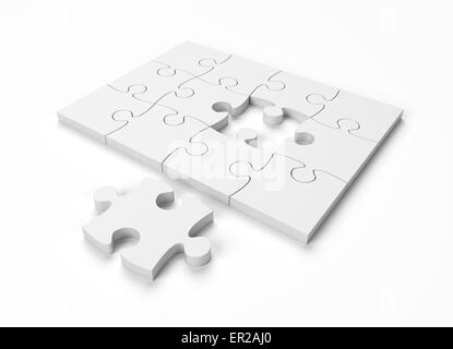 Jigsaw Puzzle Monochrome on White Background with clipping path - Stock Photo