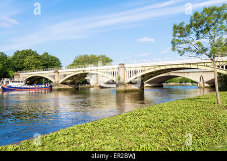 Richmond Railway Bridge and Twickenham Road Bridge in Richmond London - Stock Photo