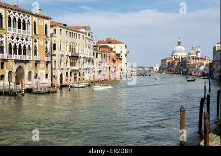 View of the Grand Canal, Venice, Italy from the Accademia bridge looking towards the St Marks Basin and Basilica - Stock Photo