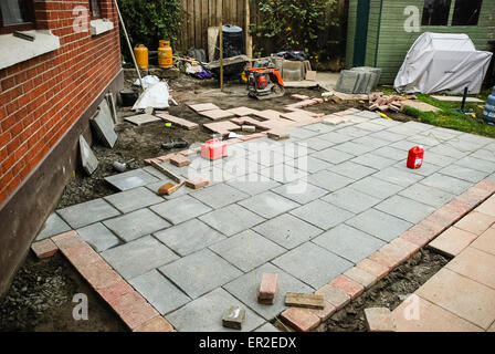 Garden patio under construction. - Stock Photo