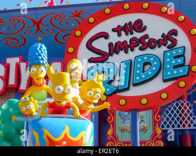 The Simpsons ride at Universal Studios, Florida - Stock Photo