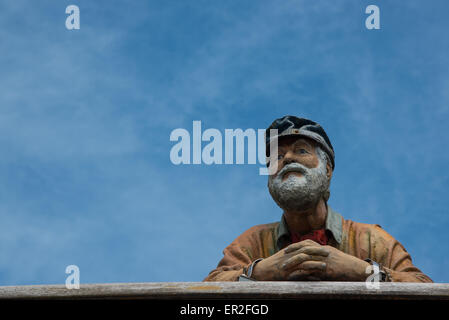 Statue of a ferryman on the King Harry Ferry across the River Fal between Feock and Philleigh, Cornwall - Stock Photo