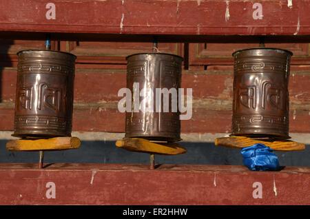 Prayer wheels inside the Amarbayasgalant monastery in the northern Mongolia, Selenge province. - Stock Photo