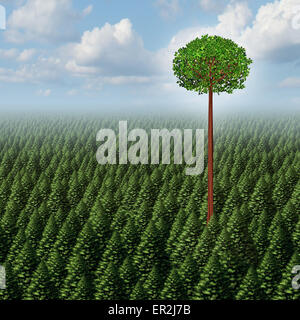 Stand out from the crowd concept as a forest of evergreen trees with a successful leaf tree standing high above - Stock Photo