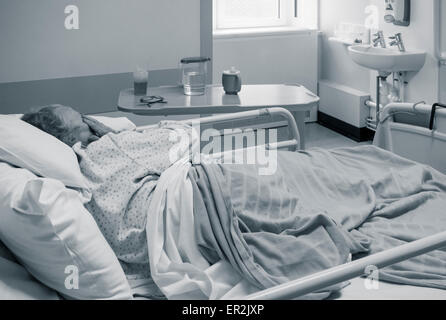 Elderly patient in her nineties diagnosed with cancer in NHS hospital in England, UK - Stock Photo