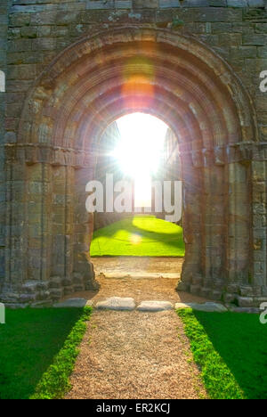 Fountains Abbey, one of the largest ruined Cistercian monasteries in England, World Heritage Site,  Ripon North - Stock Photo