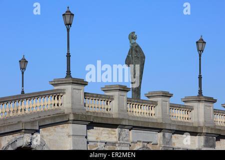 Statue of the goddess Minerva along the River Scheldt in Antwerp, Belgium - Stock Photo