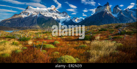 Los Cuernos towering above Lago Nordenskjold, Torres del Paine, Chilean Patagonia - Stock Photo