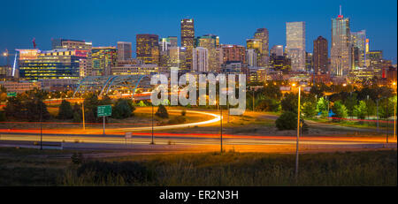 Denver skyline at night. Denver is the largest city and capital of the State of Colorado. - Stock Photo