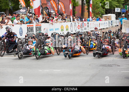 Chattanooga, Tennessee, USA.  25th May, 2015. Cyclists with disabilities begin the 2015 USA Cycling National Championship - Stock Photo