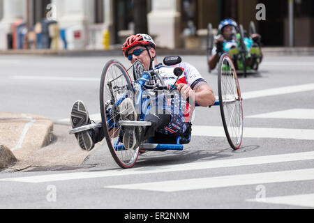 Chattanooga, Tennessee, USA.  25th May, 2015. Cyclists with disabilities compete in the 2015 USA Cycling National - Stock Photo