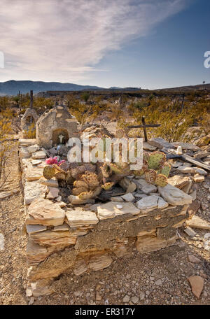 Historic cemetery in ghost town of Terlingua, Big Bend Country in Chihuahuan Desert, Texas, USA - Stock Photo