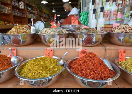 JERUSALEM - MAR 25 2015:Spices on display in Mahane Yehuda Market in Jerusalem, Israel.The spice trade developed - Stock Photo