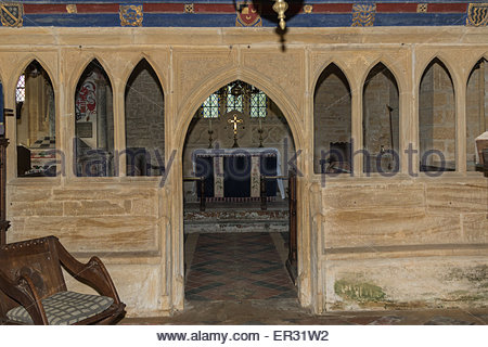 The interior of St Andrew's Church set in the grounds of Brympton House and dating from the 14th century. - Stock Photo