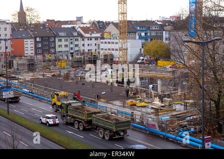 Europa, Deutschland, Nordrhein-Westfalen, Koeln, Grossbaustelle des Campus West am Holzmarkt gegenueber vom Rheinauhafen. - Stock Photo