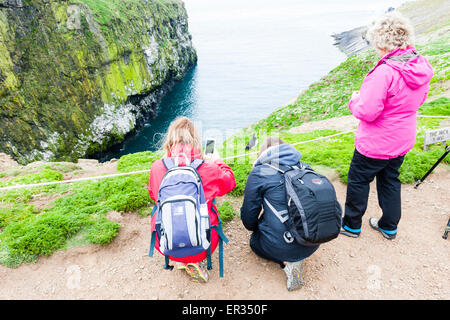 Pembrokeshire, Wales, UK. 24th May, 2015. A group of tourists takes photographs of an Atlantic puffin from close - Stock Photo
