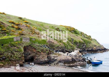 Pembrokeshire, Wales, UK. 24th May, 2015. Tourists returning from puffin watching on Skomer island disembark the - Stock Photo