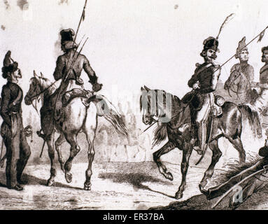 Russian militaries. Cossacks. Engraving. 18th century. - Stock Photo
