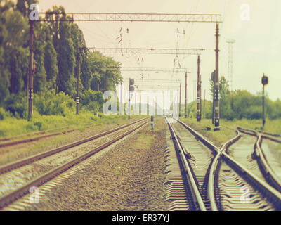 May 26, 2015 - Train railroad disappearing in the distance. Soft focus. Retro style photo. (Credit Image: © Igor - Stock Photo