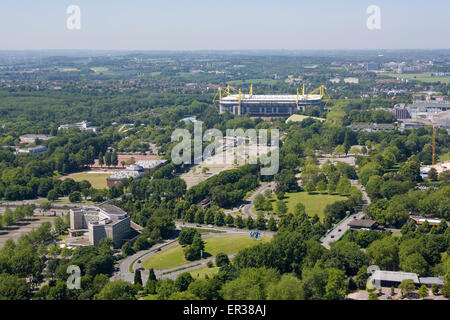 Europe, Germany, North Rhine-Westphalia, Ruhr area, view from the television tower Florian at the Westfalen Park - Stock Photo