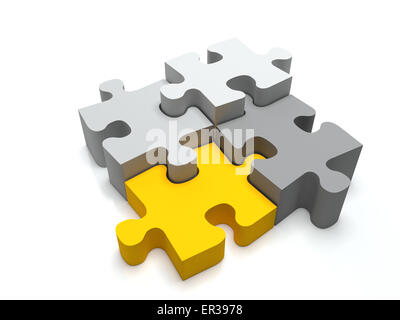 Jigsaw puzzle 3 light pieces and one yellow piece. - Stock Photo