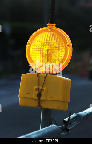 traffic yellow light signal for caution - Stock Photo