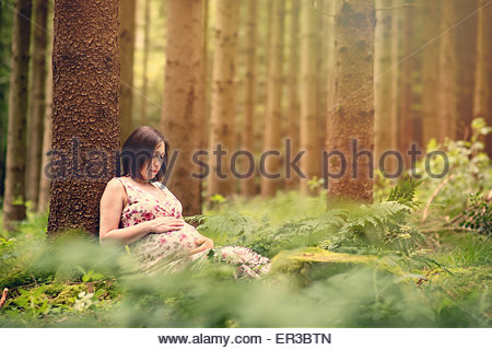 Pregnant woman leaning against a tree in the forest - Stock Photo