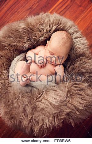 Baby boy sleeping on a fur blanket - Stock Photo