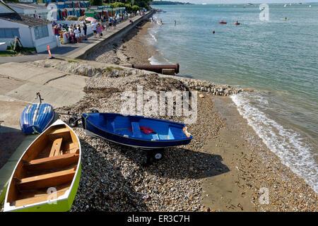 Dinghy Bembridge Seafront, Isle of Wight, England - Stock Photo