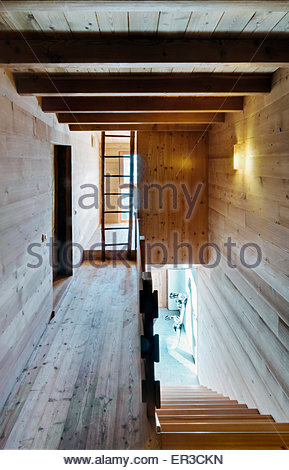 Interior wooden staircase and landing in Residenza LG, Italy - Stock Photo