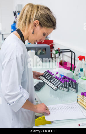 Blood analysis, Biology and Research Center in University Hospital Health, Limoges, France. - Stock Photo
