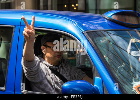 Victoria, London, UK. 26th May, 2015.  London's cabbies protest near Transport For London's HQ in Victoria against - Stock Photo