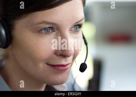 Telemarketer, portrait - Stock Photo