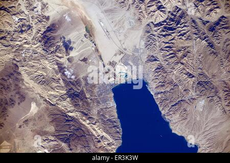 View from the International Space Station of Aqaba in Jordan and Israel. - Stock Photo