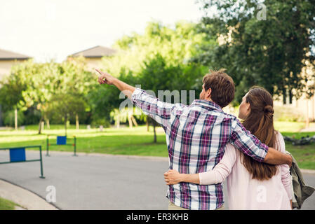 Couple enjoying walk together - Stock Photo