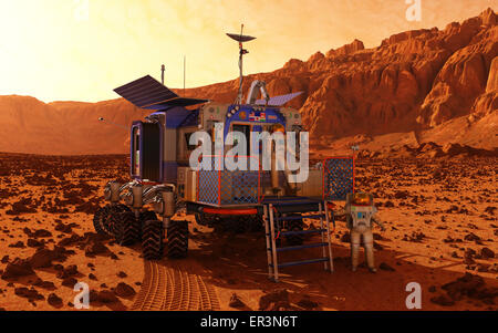 A manned rover pauses in a martian canyon while an explorer in a protective pressurized suit departs.  This rover - Stock Photo