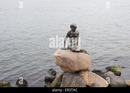Little mermaid in Copenhagen sitting on a stone - Stock Photo