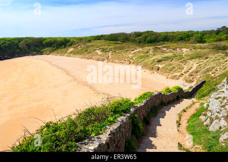 Overlooking the stunning beach at Barafundle Bay on the Pembrokeshire coast of South Wales UK Europe - Stock Photo