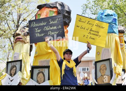 A float in the Minneapolis May Day parade memorializing those lost in the Sewol Korea ferry disaster. - Stock Photo