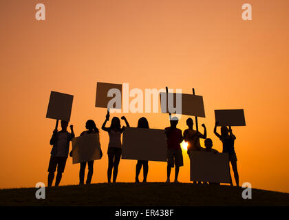 People at sunset - Stock Photo
