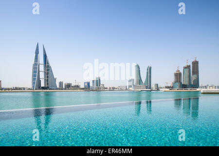 Skyline of Manama city in Bahrain from new Four Seasons luxury Hotel - Stock Photo