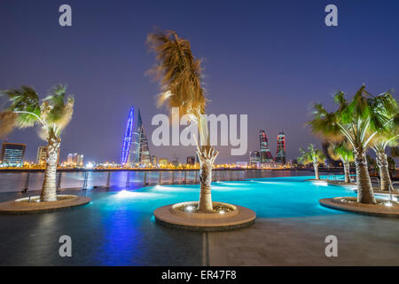 Skyline of Manama city and Bahrain Bay  from new Four Seasons Bahrain Bay luxury Hotel in Bahrain - Stock Photo