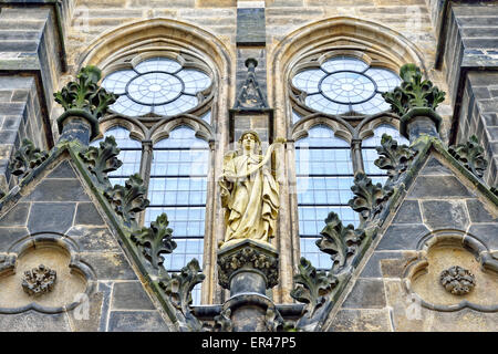 Evangelist church Saint Petri in Leipzig, Germany built in 19 century in neogothic style - Stock Photo