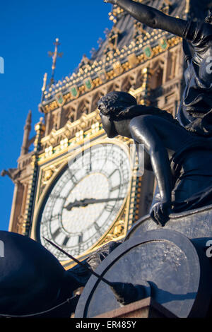 Figure on chariot on Boadicea statue ensemble with clock face of Big Ben Elizabeth Tower Houses of Parliament London - Stock Photo
