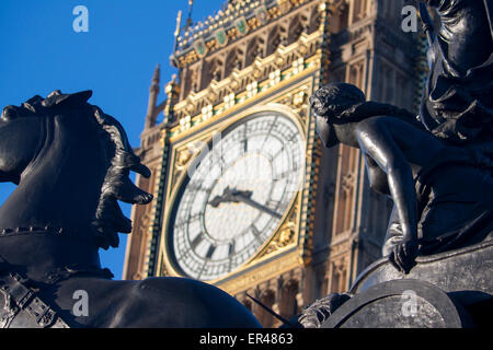 Boadicea and chariot statue with horse and clock face of Big Ben Elizabeth Tower Houses of Parliament London England - Stock Photo