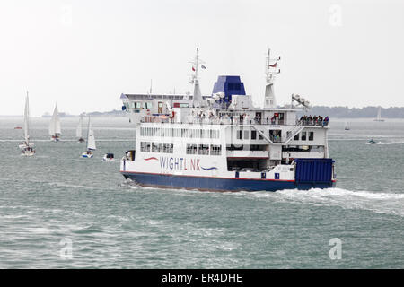The Wightlink Isle of Wight Car Ferry 'St. Cecilia' leaving Portsmouth on its way to Fishbourne on the Isle of Wight. - Stock Photo