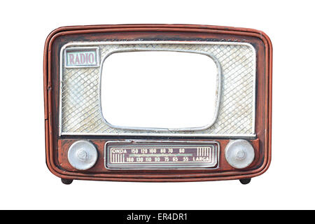 Vintage frame for the photo in the form of old radio on a white background. It is isolated, the worker of paths - Stock Photo