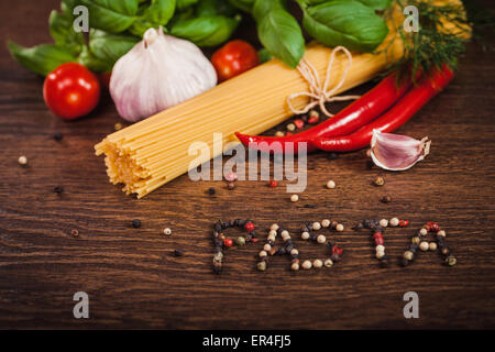 Ingredients for a delicious pasta meal - Stock Photo