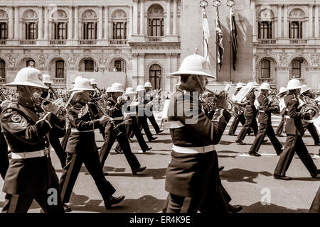The Band Of Her Majesties Royal Marines March Past The Cenotaph As Part Of The 70th Anniversary of VE Day, London, - Stock Photo