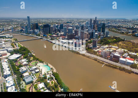 Aerial image of Brisbane River, City and South Bank, Queensland Australia - Stock Photo